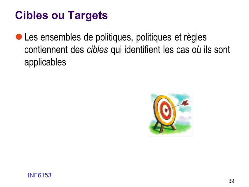 Cibles ou Targets Les ensembles de politiques, politiques et règles contiennent des cibles qui identifient les cas où ils sont applicables.