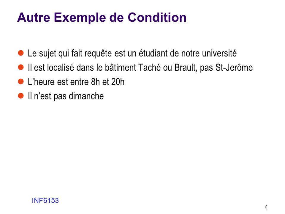 Autre Exemple de Condition