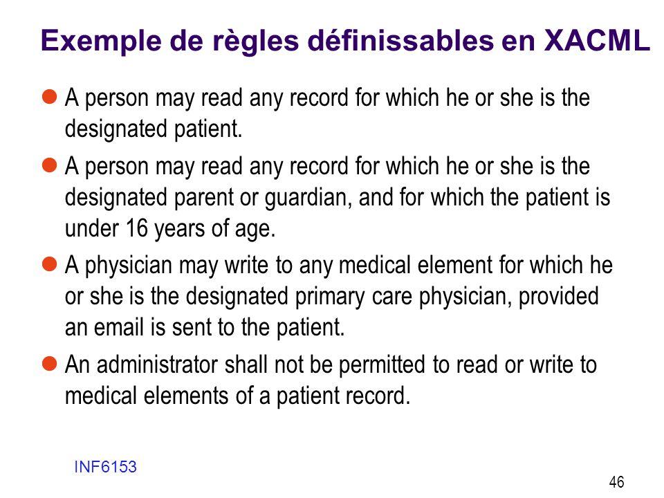 Exemple de règles définissables en XACML