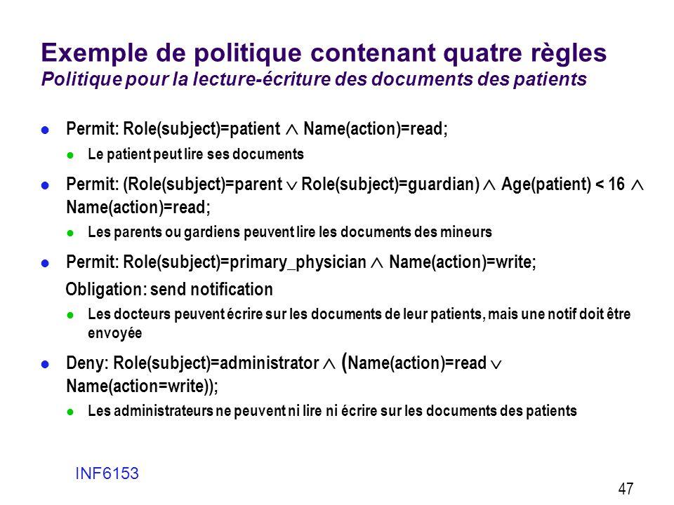Exemple de politique contenant quatre règles Politique pour la lecture-écriture des documents des patients