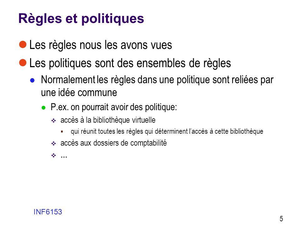 Règles et politiques Les règles nous les avons vues
