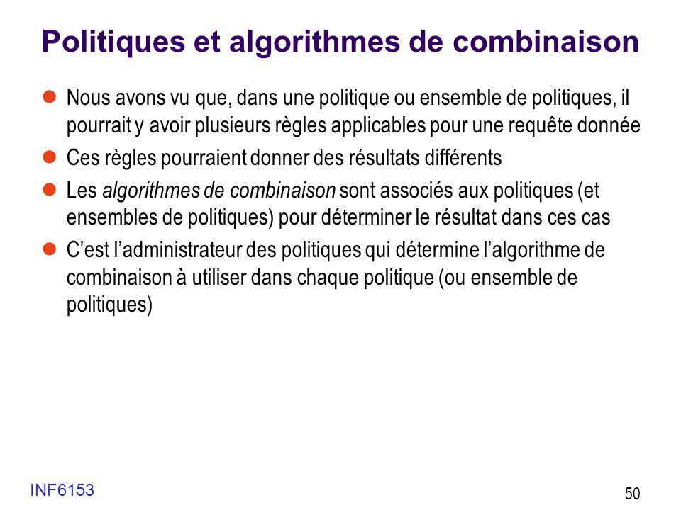 Politiques et algorithmes de combinaison