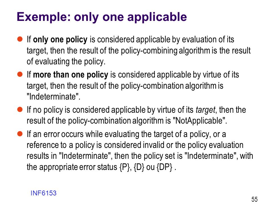Exemple: only one applicable