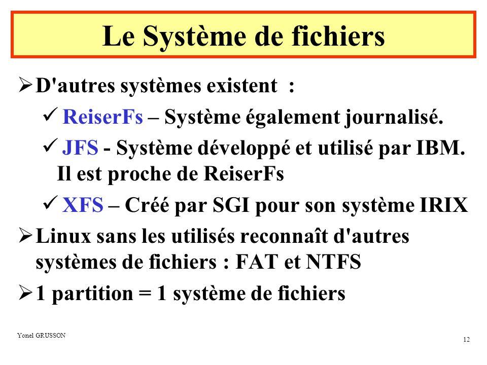 Le Système de fichiers D autres systèmes existent :