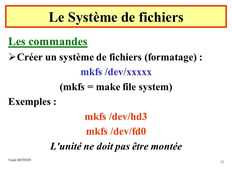 (mkfs = make file system) L unité ne doit pas être montée