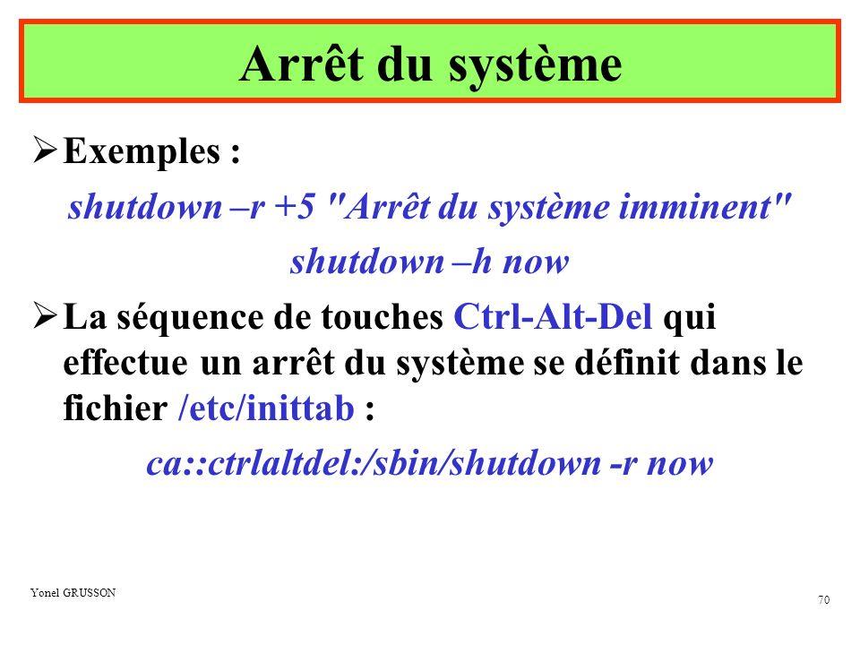 Arrêt du système Exemples : shutdown –r +5 Arrêt du système imminent