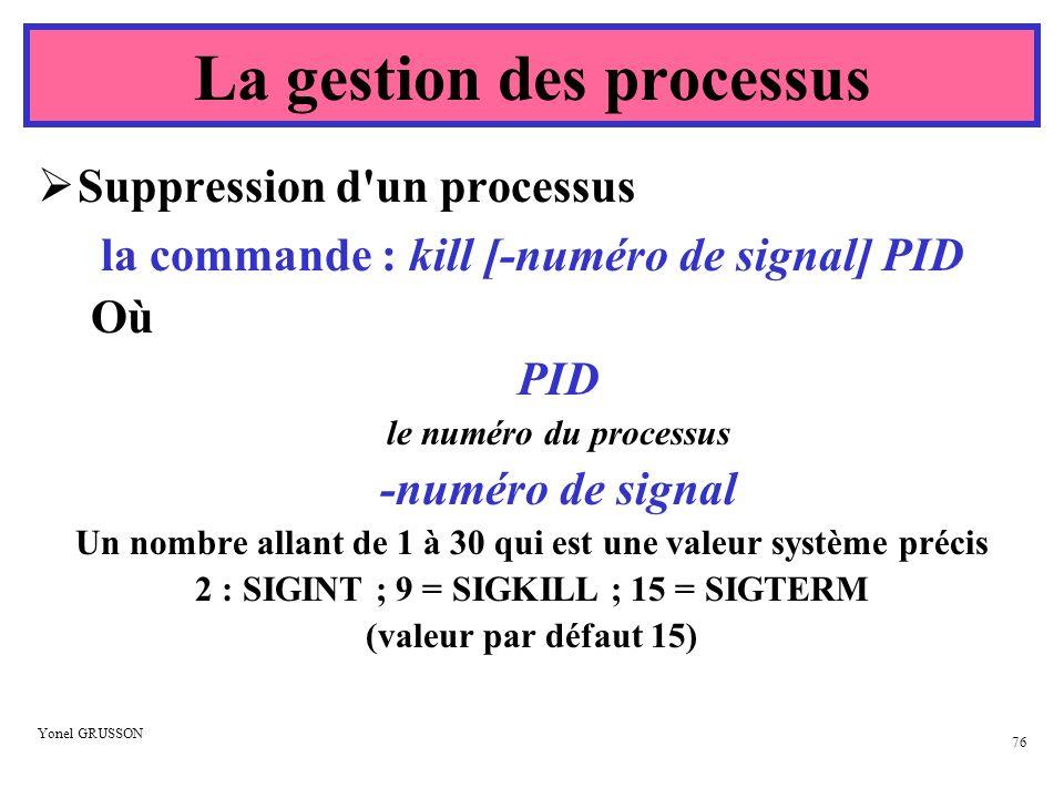 La gestion des processus