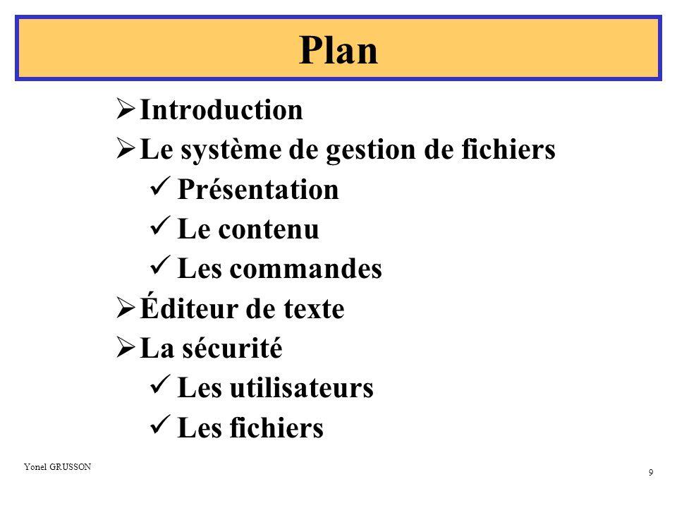 Plan Introduction Le système de gestion de fichiers Présentation