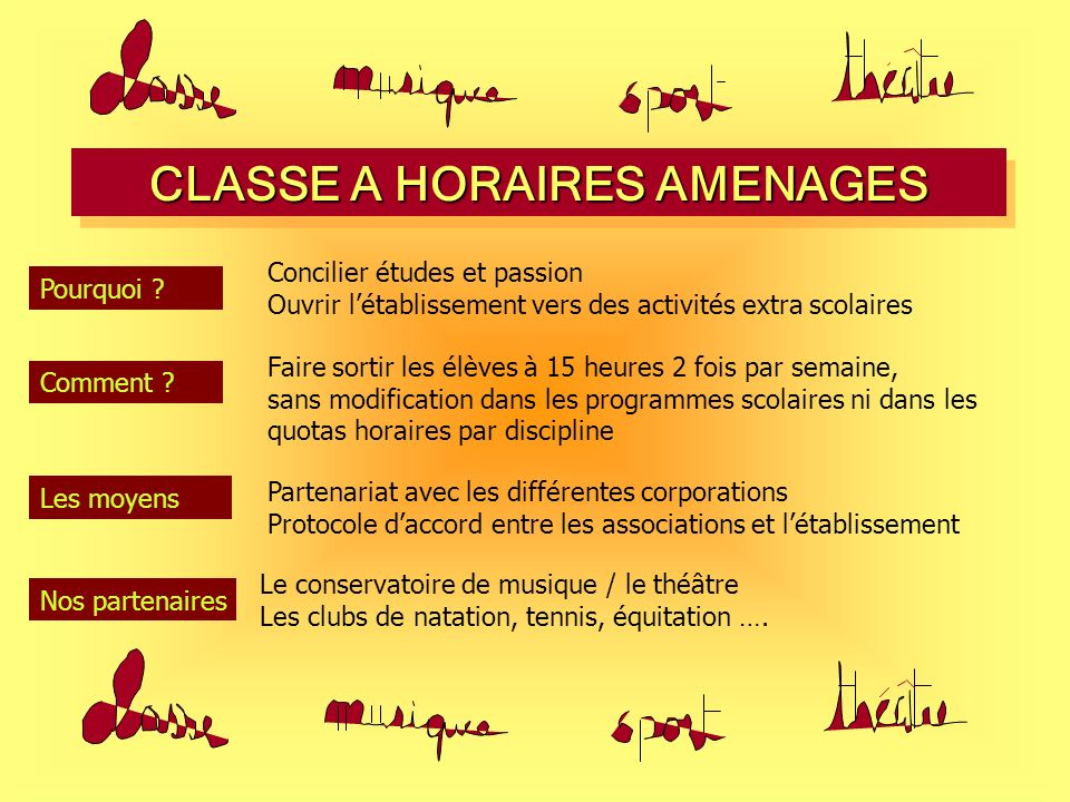 CLASSE A HORAIRES AMENAGES