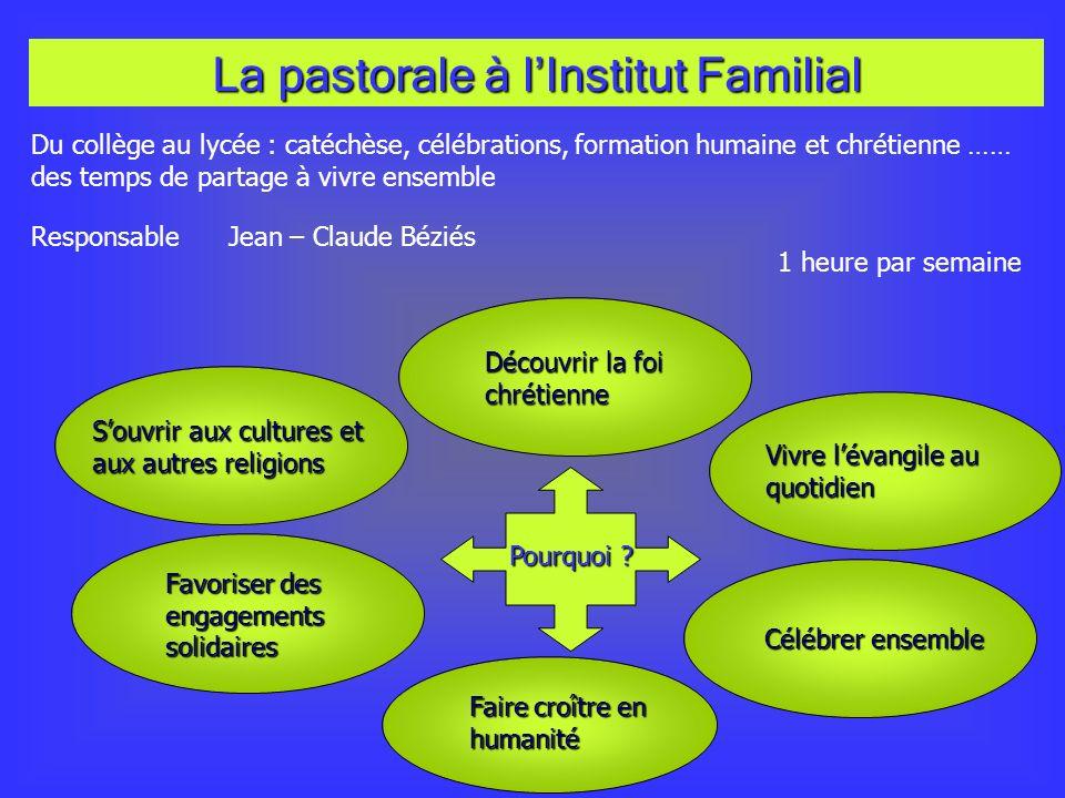 La pastorale à l'Institut Familial