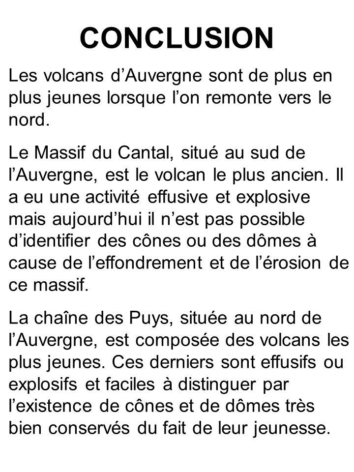 CONCLUSION Les volcans d'Auvergne sont de plus en plus jeunes lorsque l'on remonte vers le nord.