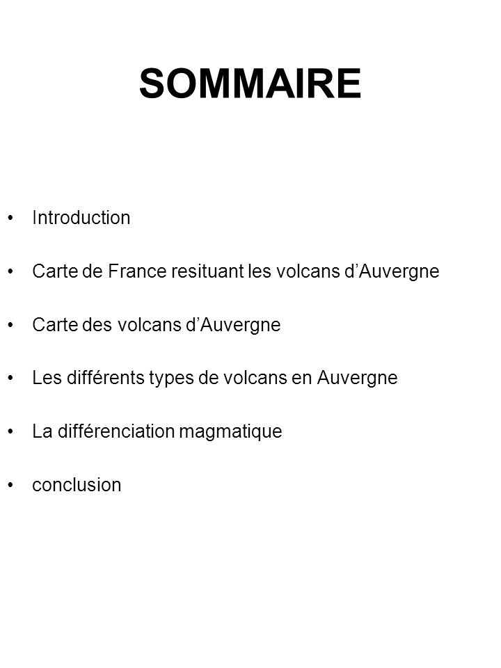 SOMMAIRE Introduction Carte de France resituant les volcans d'Auvergne