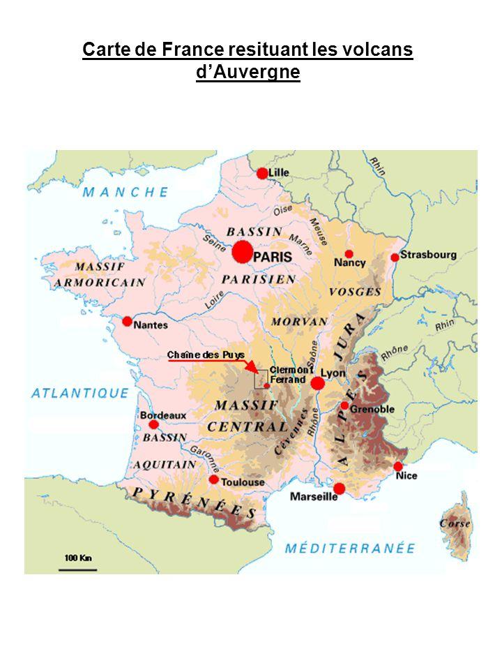 Carte de France resituant les volcans d'Auvergne