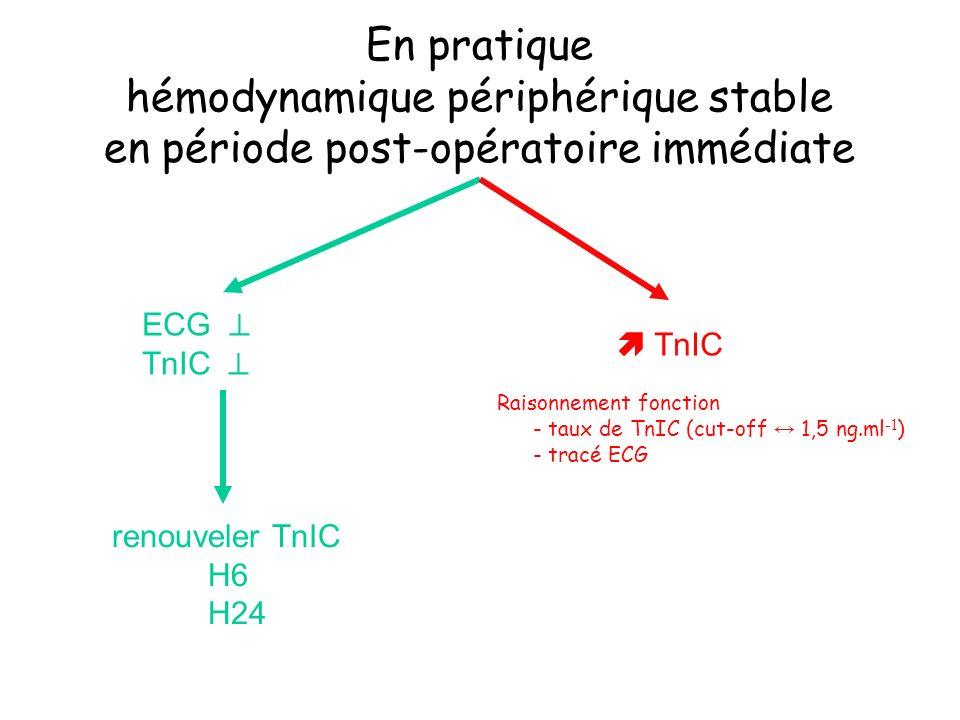 En pratique hémodynamique périphérique stable en période post-opératoire immédiate