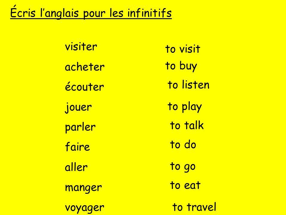 Écris l'anglais pour les infinitifs