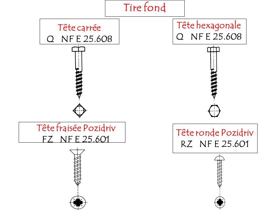 Tire fond Tête hexagonale Tête carrée Q NF E 25.608 Q NF E 25.608