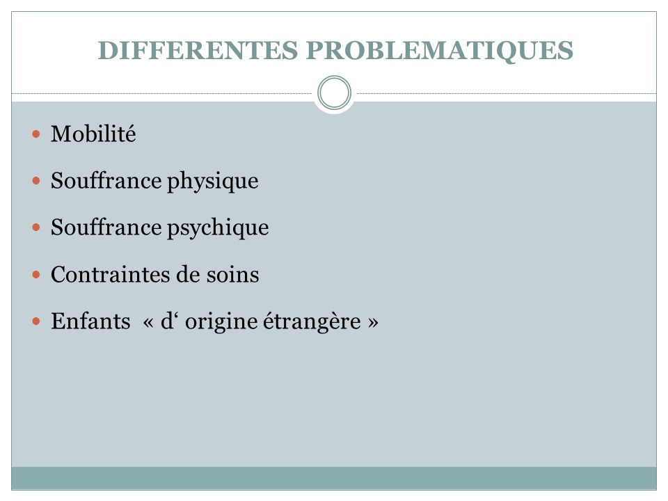 DIFFERENTES PROBLEMATIQUES