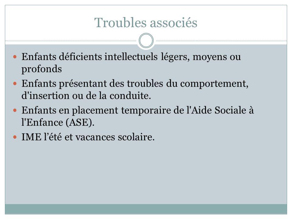 Troubles associés Enfants déficients intellectuels légers, moyens ou profonds.