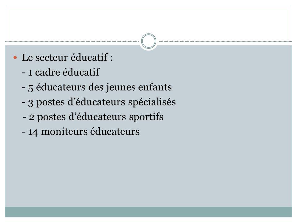 Le secteur éducatif : - 1 cadre éducatif. - 5 éducateurs des jeunes enfants. - 3 postes d'éducateurs spécialisés.