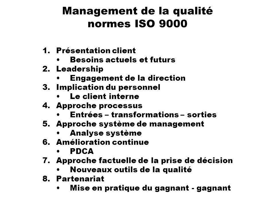Management de la qualité normes ISO 9000