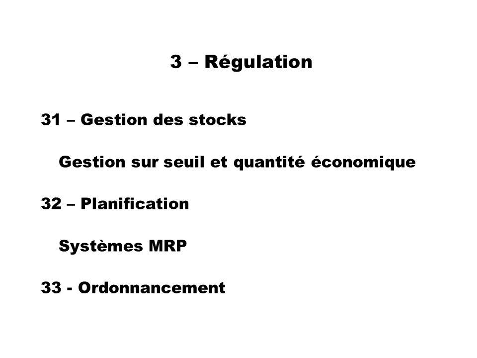 3 – Régulation 31 – Gestion des stocks