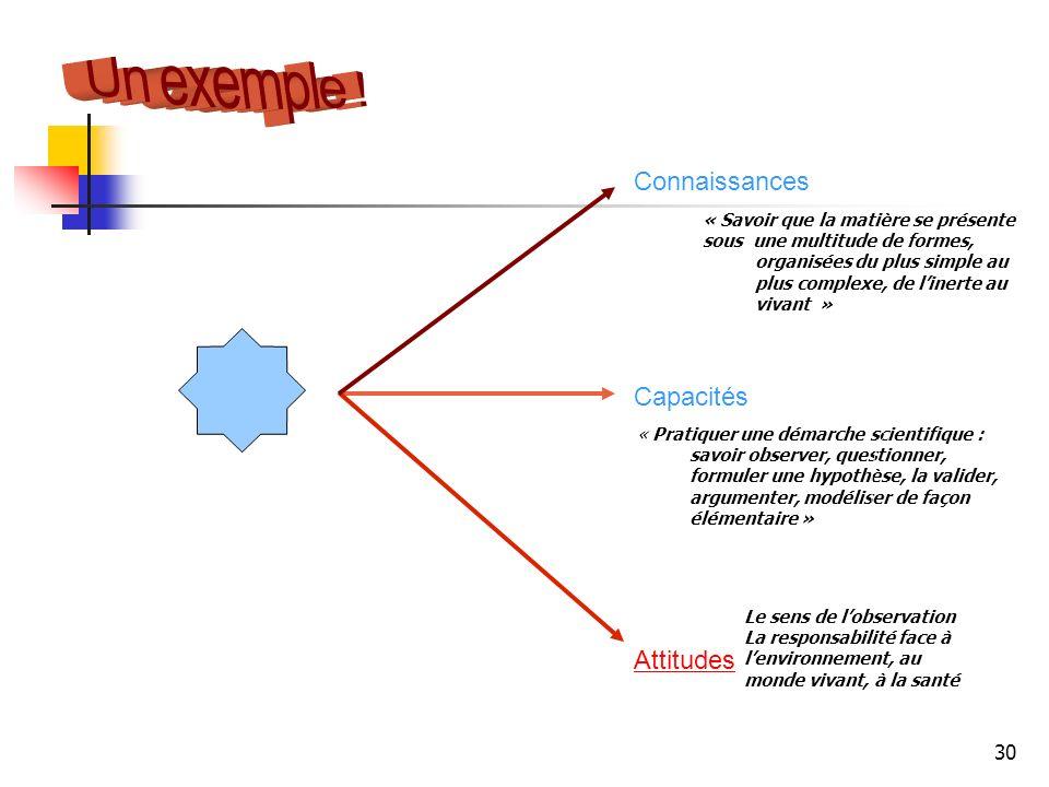 Un exemple ! La maîtrise de la langue française Connaissances