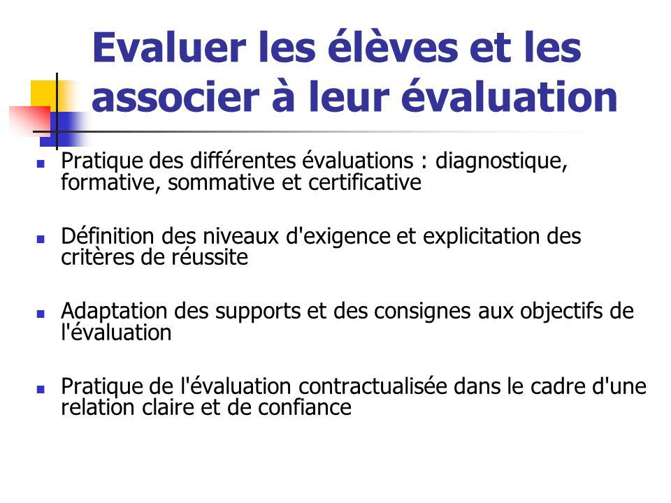 Evaluer les élèves et les associer à leur évaluation