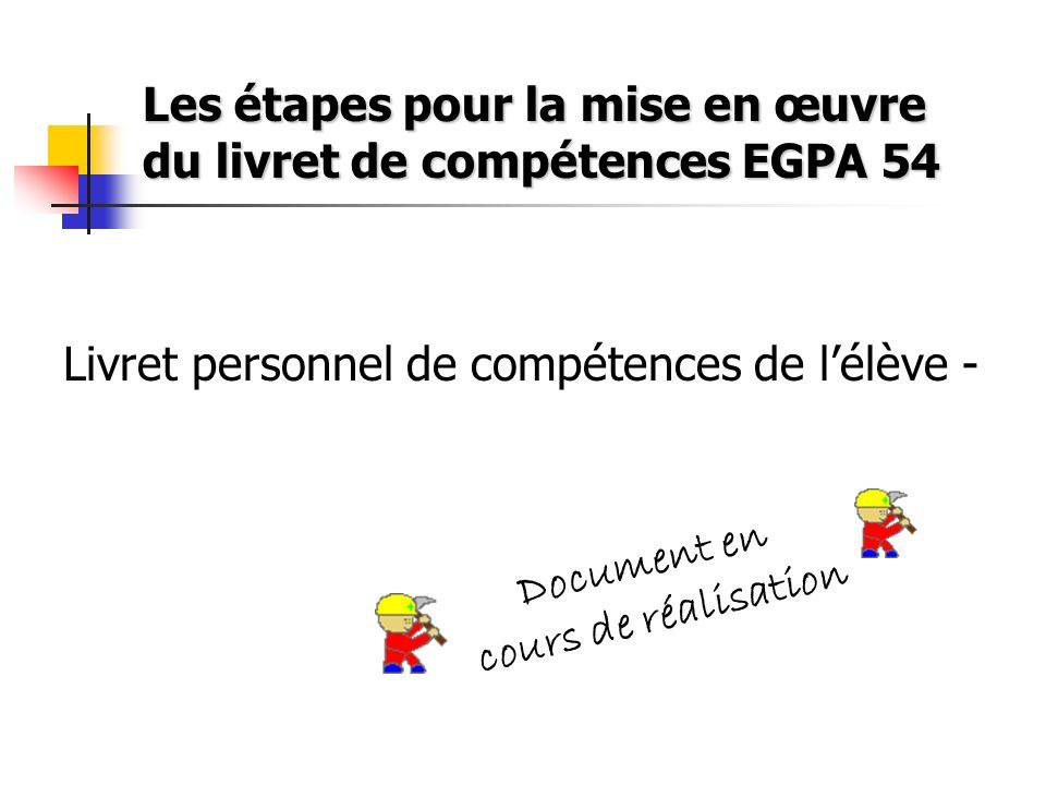 Les étapes pour la mise en œuvre du livret de compétences EGPA 54
