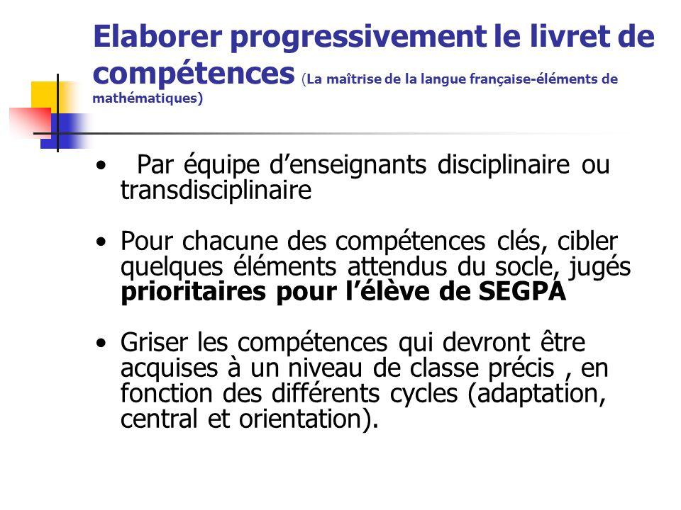 Elaborer progressivement le livret de compétences (La maîtrise de la langue française-éléments de mathématiques)