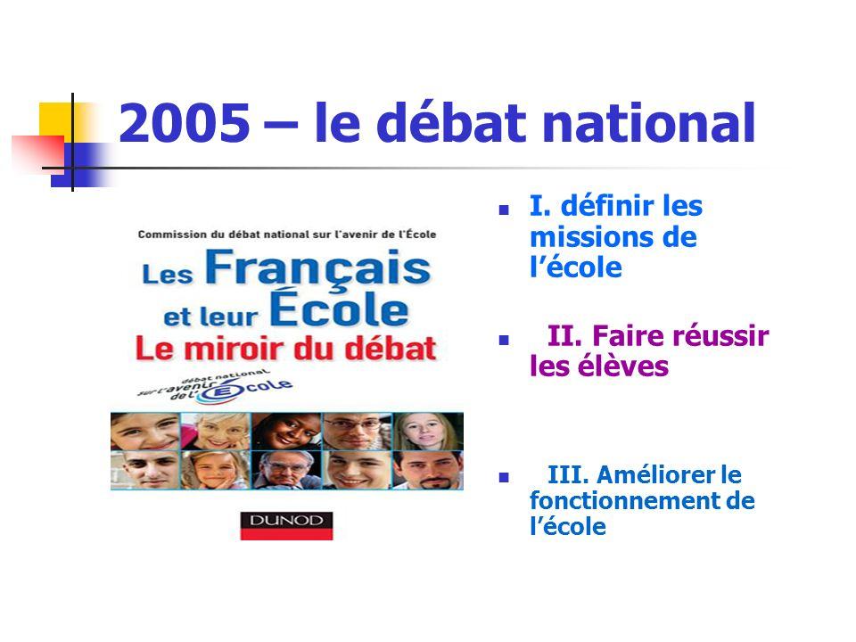 2005 – le débat national I. définir les missions de l'école