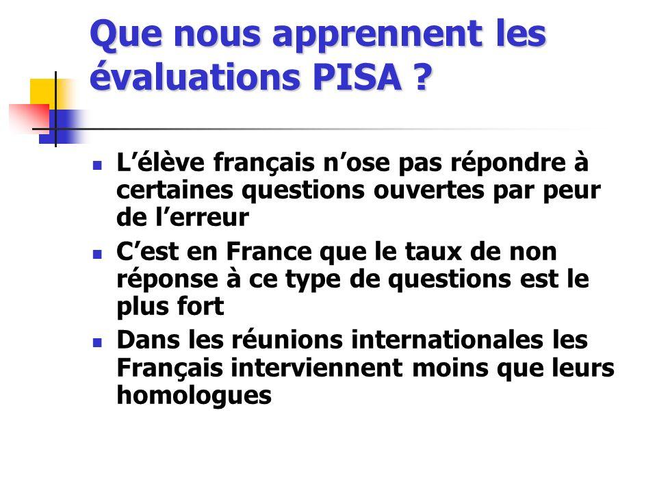 Que nous apprennent les évaluations PISA