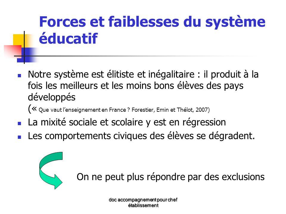 Forces et faiblesses du système éducatif