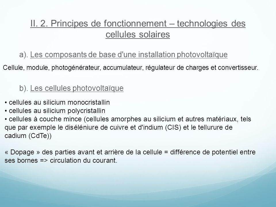II. 2. Principes de fonctionnement – technologies des cellules solaires