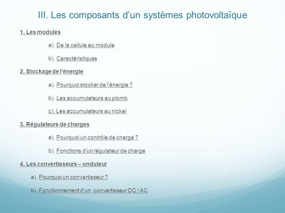 III. Les composants d'un systèmes photovoltaïque