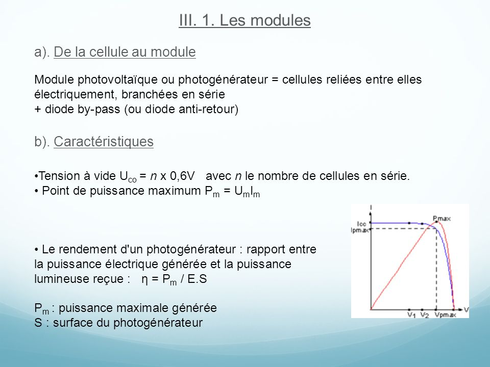 III. 1. Les modules a). De la cellule au module b). Caractéristiques
