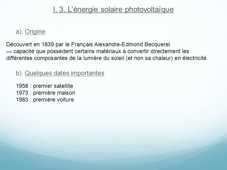 I. 3. L'énergie solaire photovoltaïque
