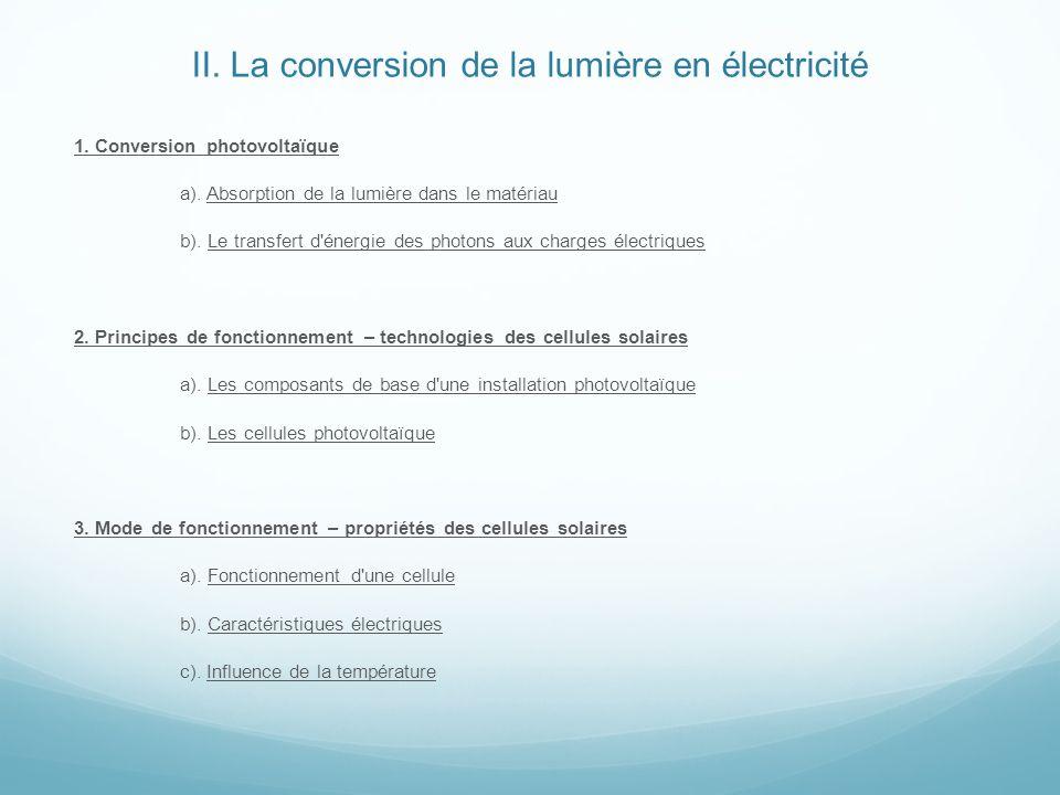 II. La conversion de la lumière en électricité