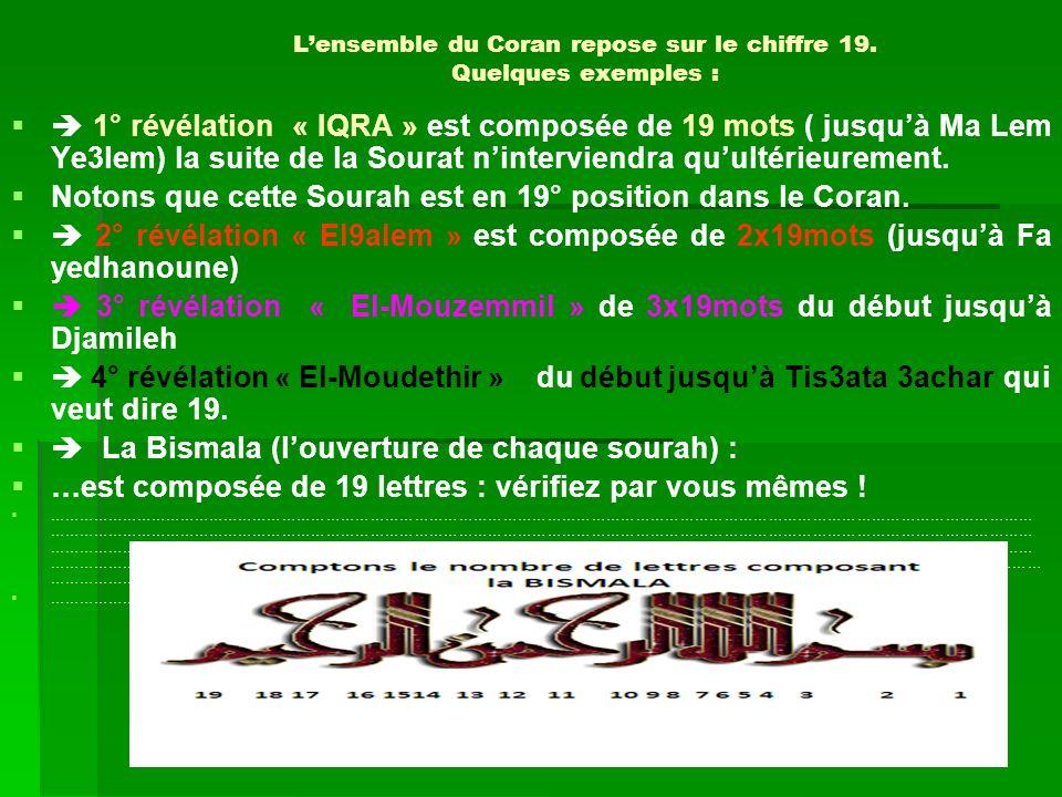 L'ensemble du Coran repose sur le chiffre 19. Quelques exemples :