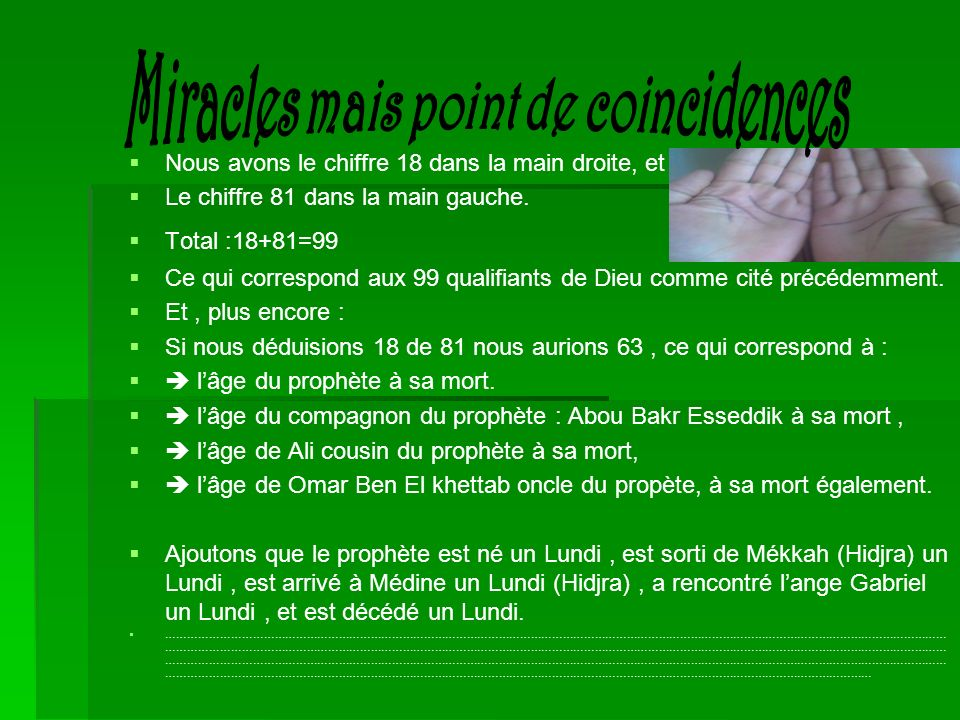 Miracles mais point de coincidences