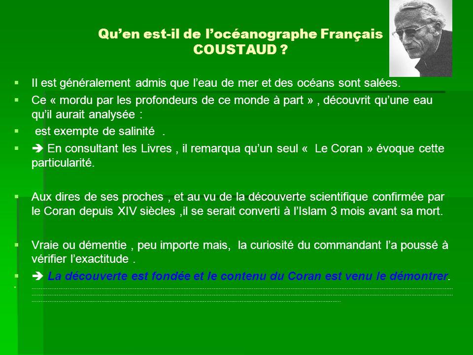 Qu'en est-il de l'océanographe Français COUSTAUD