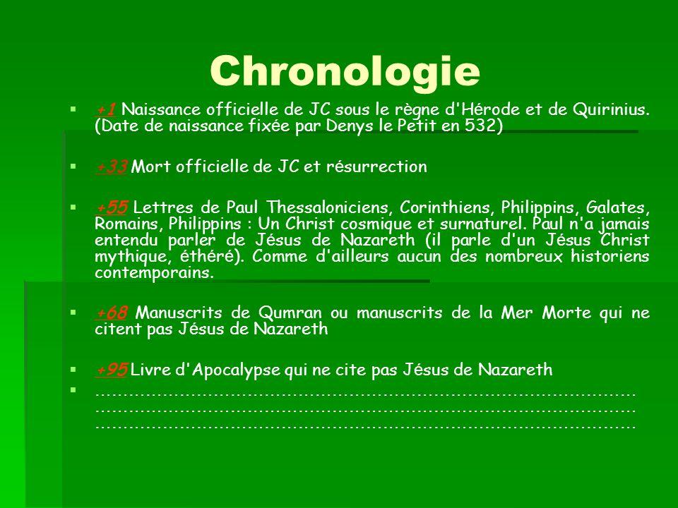 Chronologie +1 Naissance officielle de JC sous le règne d Hérode et de Quirinius. (Date de naissance fixée par Denys le Petit en 532)