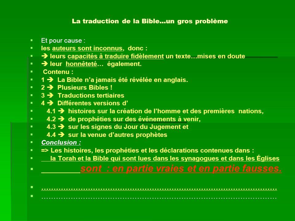 La traduction de la Bible…un gros problème