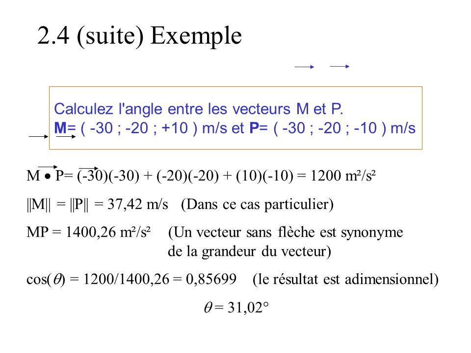 2.4 (suite) Exemple Calculez l angle entre les vecteurs M et P.