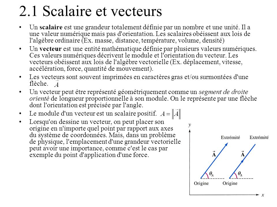 2.1 Scalaire et vecteurs