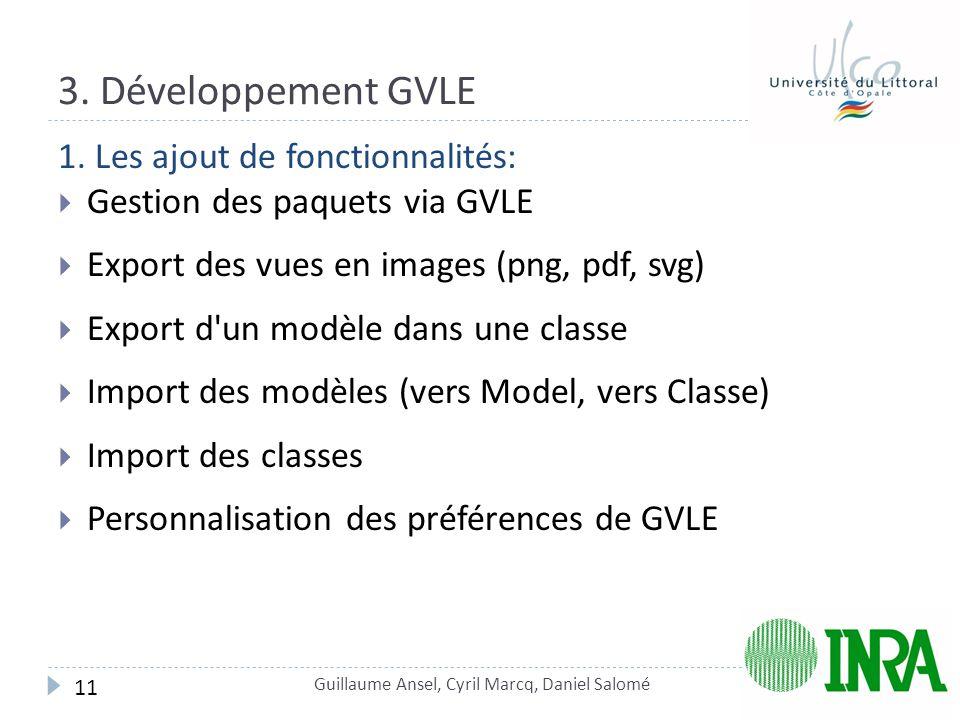 3. Développement GVLE 1. Les ajout de fonctionnalités: