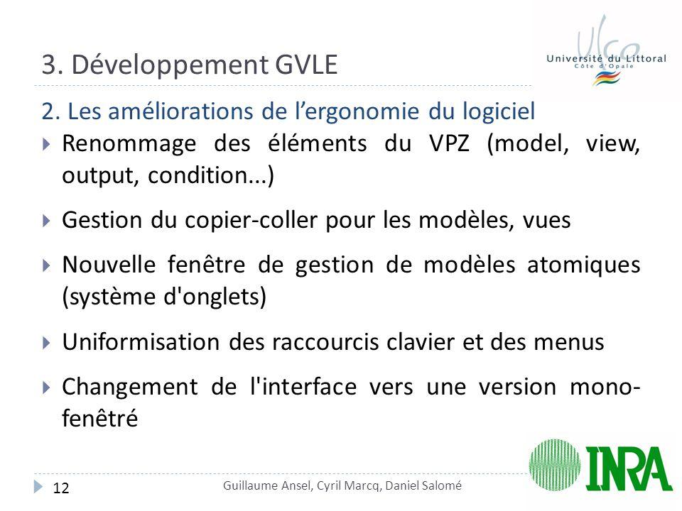 3. Développement GVLE 2. Les améliorations de l'ergonomie du logiciel