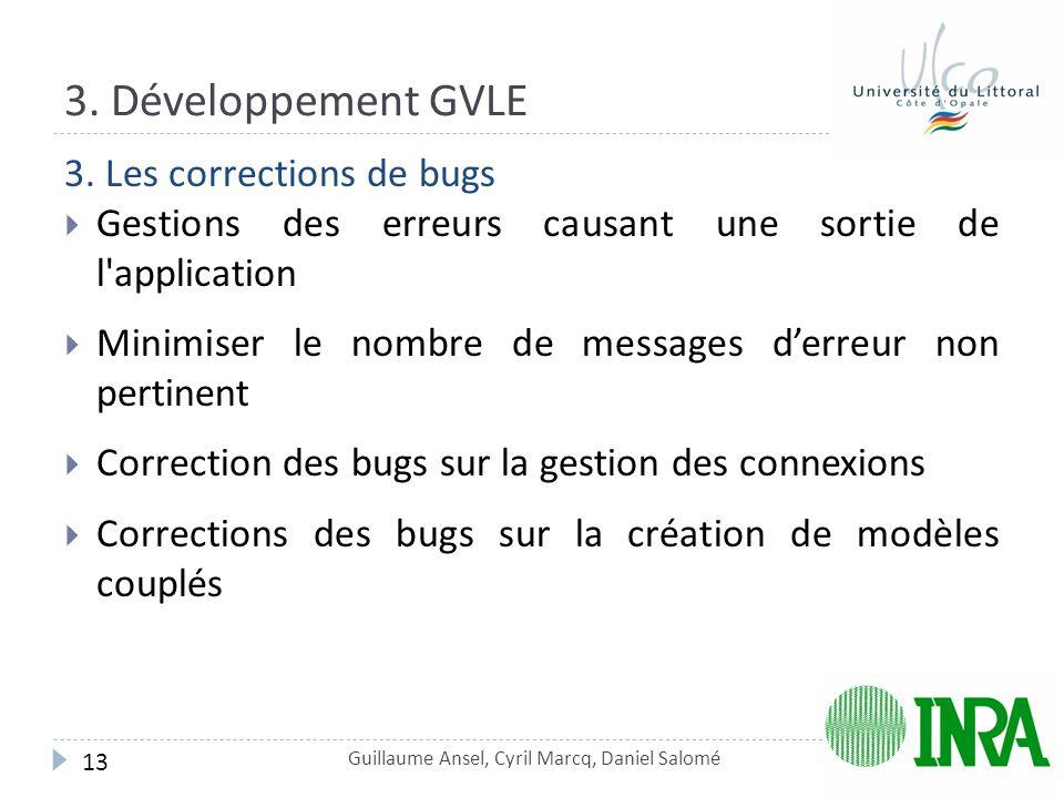 3. Développement GVLE 3. Les corrections de bugs