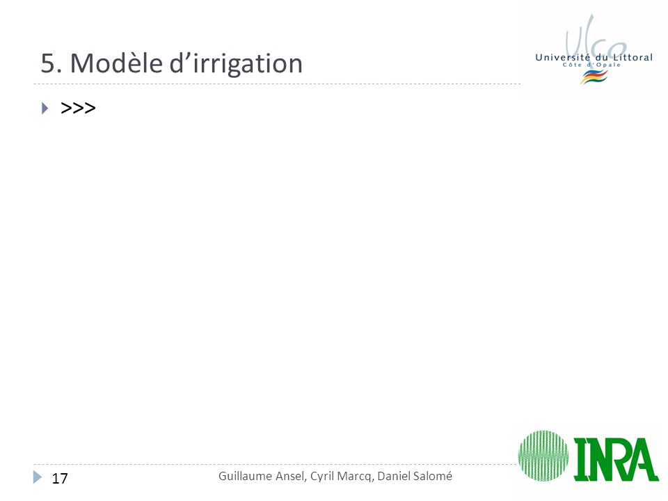 5. Modèle d'irrigation >>> 17