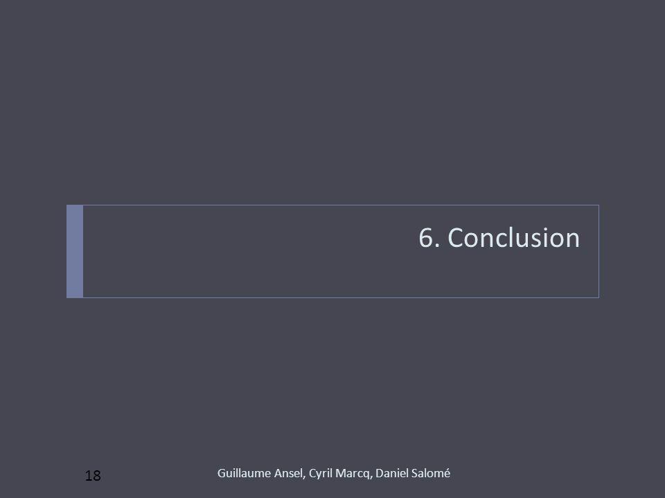 6. Conclusion 18 Guillaume Ansel, Cyril Marcq, Daniel Salomé