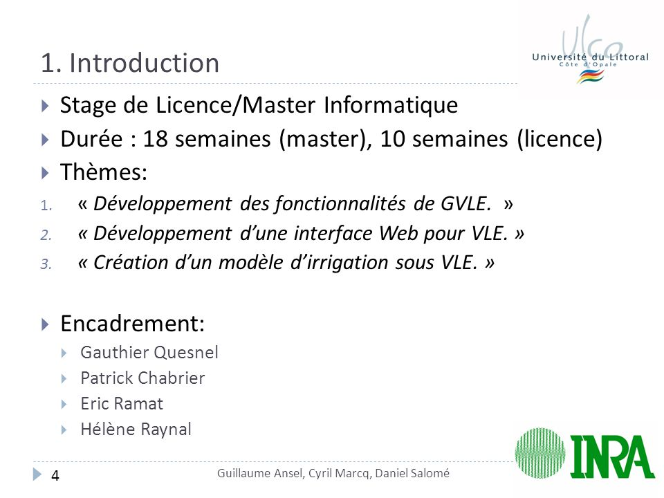 1. Introduction Stage de Licence/Master Informatique